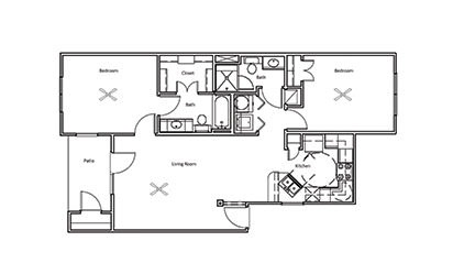 Chestnut - 2 bedroom floorplan layout with 2 bath and 968 square feet