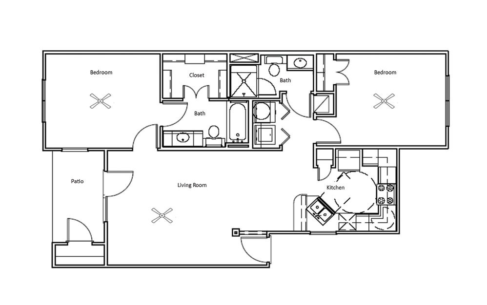 Chestnut - 2 bedroom floorplan layout with 2 bath and 968 square feet (1st floor 2D)