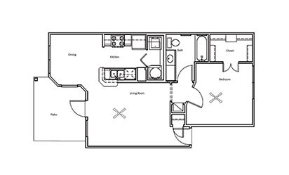Hickory - 1 bedroom floorplan layout with 1 bath and 700 square feet