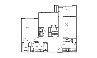 Mesquite - 2 bedroom floorplan layout with 1 bath and 982 square feet