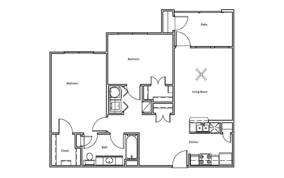 Mesquite - 2 bedroom floorplan layout with 1 bath and 982 square feet (1st floor 2D)