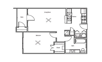 Willow - 1 bedroom floorplan layout with 1 bath and 702 square feet