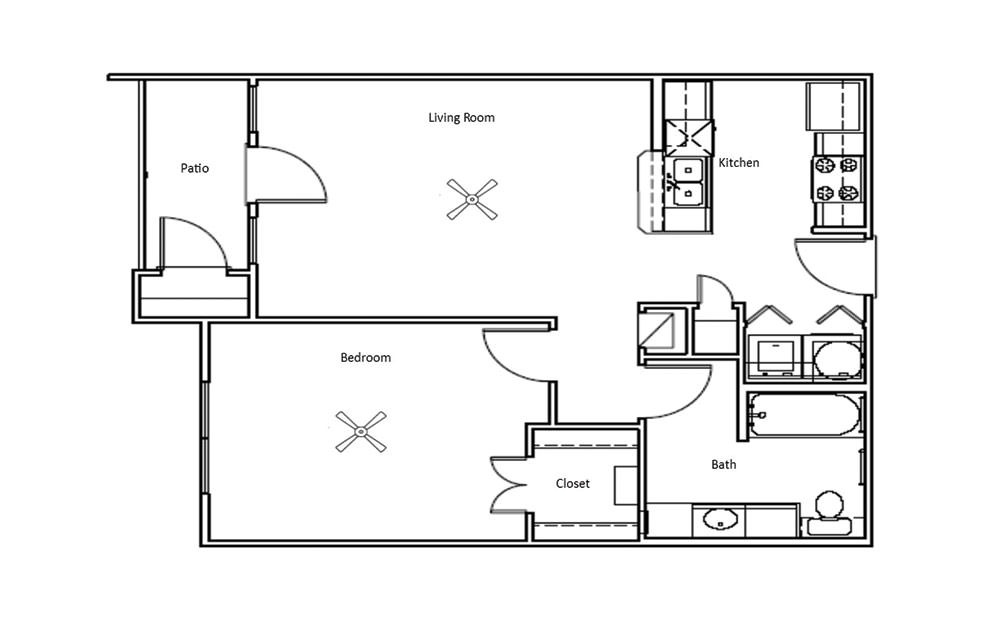 Willow - 1 bedroom floorplan layout with 1 bath and 702 square feet (1st floor 2D)